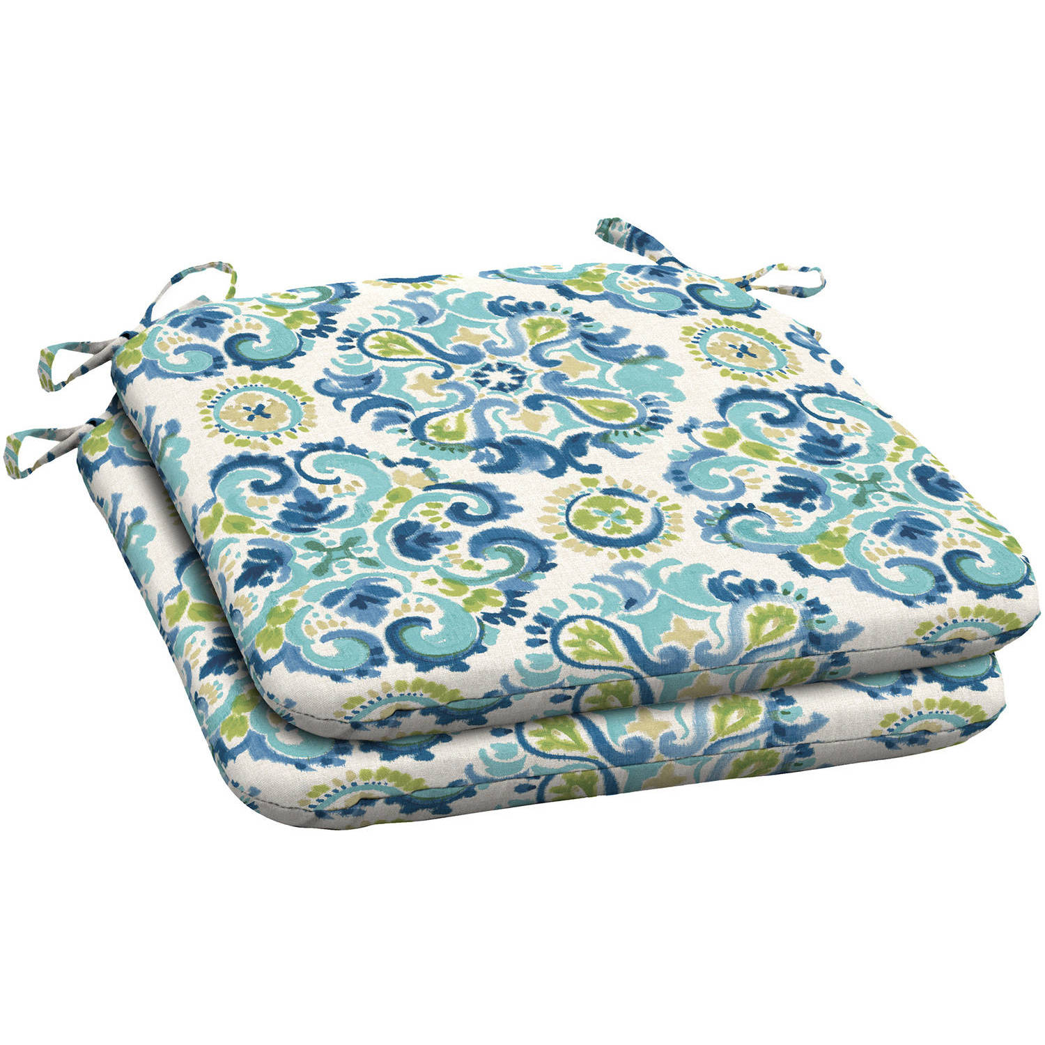 Better Homes and Gardens Blue Green Universal Seat Pad, Set of 2, Blue Green Medallion