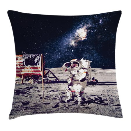 Outer Space Moon (Outer Space Decor Throw Pillow Cushion Cover, American Spaceman on Moon Future Solar Discovery in Deep Technology View, Decorative Square Accent Pillow Case, 16 X 16 Inches, Blue Grey, by Ambesonne )