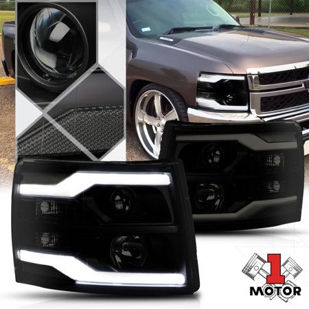 Black Smoke Led Drl Bar Projector Headlight Clear Corner For 07 14 Silverado 08 09 10 11 12 13