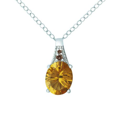 (Belinda Jewelz Oval-Shaped Natural Citrine Necklace with Smoky Quartz in Solid Sterling Silver)