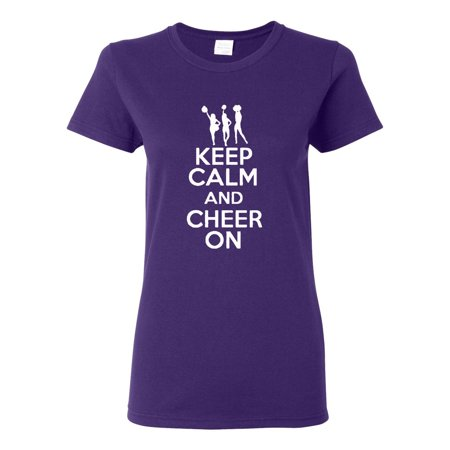 Ladies Keep Calm and Cheer On T-Shirt - Teen Cheer
