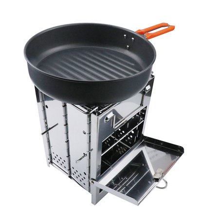 AIHOME Stainless Steel Square Stove Foldable Grill Adjustable Outdoor Mini Charcoal Stove BBQ Grill - image 3 de 9