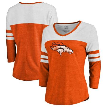 - Denver Broncos NFL Pro Line by Fanatics Branded Women's Distressed Primary Logo Three-Quarter Sleeve Raglan Tri-Blend T-Shirt - Orange