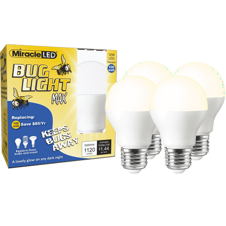 Miracle LED Yellow Bug Light MAX Replace 100W Outdoor Bulb 4