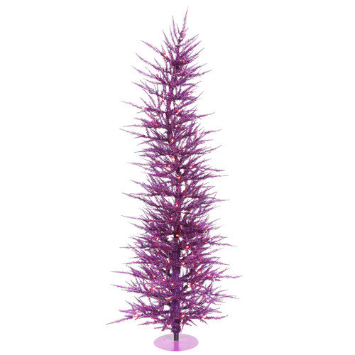 Vickerman Purple Wreath and Garland 6' Purple Artificial Christmas Tree with 150 Purple Lights