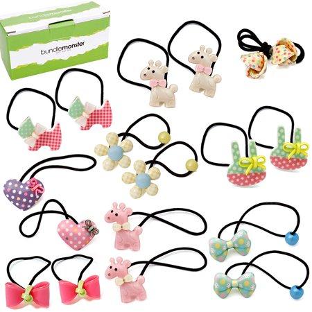 Bundle Monster - 9 pair Baby Girls Hard Animal Elastic Band Hair Tie  Accessory Set - Walmart.com 9edbb24471d