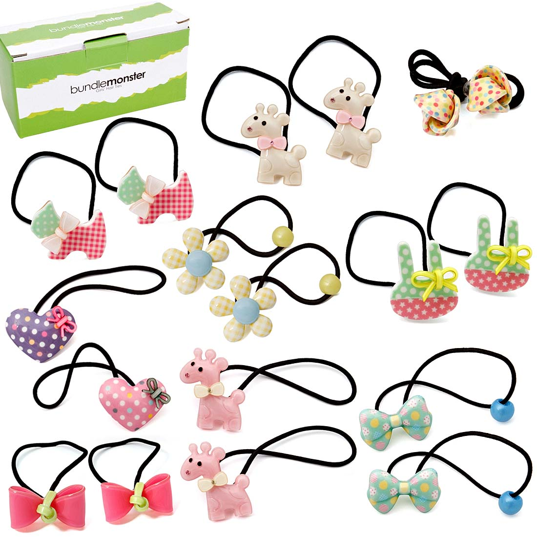 Bundle Monster 9 pair Baby Girls Hard Animal Elastic Band Hair Tie Accessory Set