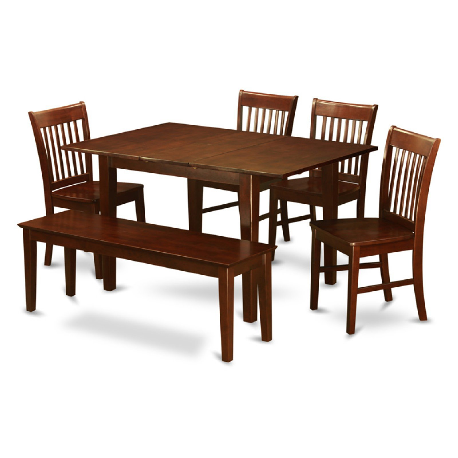 East West Furniture Picasso 6-Piece Slat Back Dining Table Set