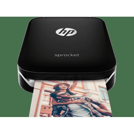 HP Sprocket Portable Photo Printer, Print Social Media Photos on 2x3 Sticky-Backed Paper - Black