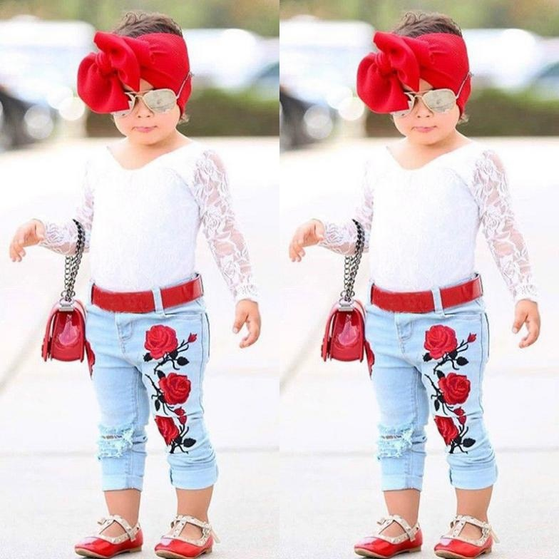Toddler Kids Baby Girls 3D Flower Lace Tops Denim Pants Jeans Outfit Set Clothes