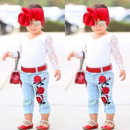 Toddler Kids Baby Girls 3D Flower Lace Tops Denim Pants Jeans Outfit Set Clothes - Girl Clothing Boutique