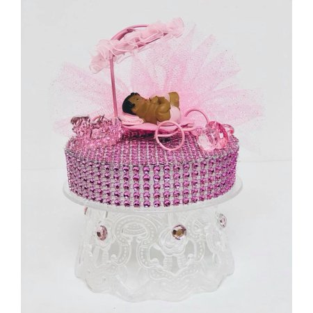 Ethnic Baby Girl Under Umbrella Baby Shower Cake Top Decoration 5