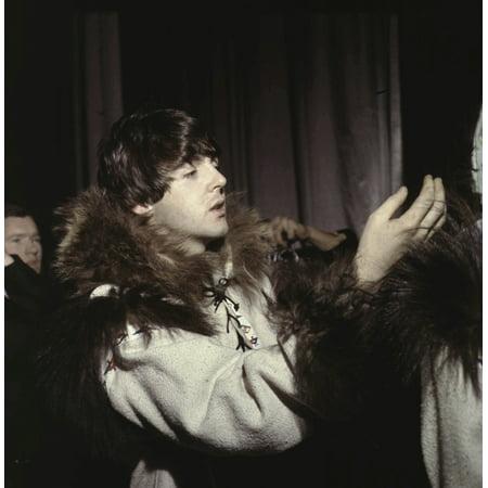 Paul McCartney wearing a fur trim coat Photo Print ()