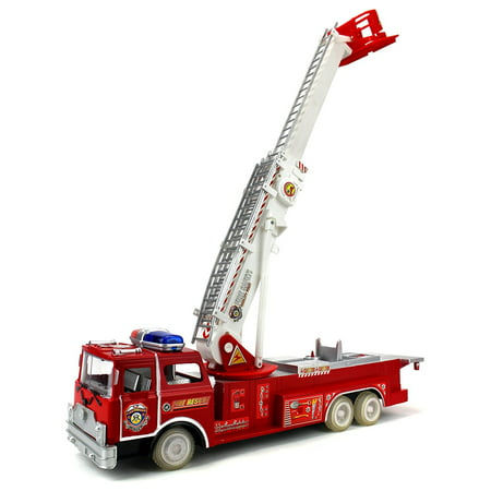Emergency Fire Squad Remote Control RC Truck Ready To Run w/ Working Siren and Wheel Lights, Rotating Extending Crane ()