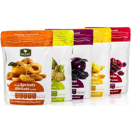 Basse 5ct Variety Pack - Raisins, Prunes, Figs, Apricots, Cranberries, 5-1 lb bags (Fresh Fig Apricot)