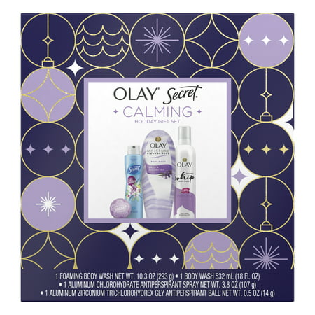 Olay & Secret Calming Holiday Gift Set (Foaming Body Wash + Ribbons Body Wash + Antiperspirant Spray + Antiperspirant Ball)