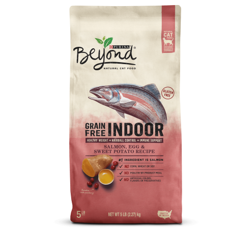 Potato Dry Food Formula - Purina Beyond Indoor, Grain Free, Natural Dry Cat Food, Grain Free Salmon, Egg & Sweet Potato Recipe - 5 lb. Bag