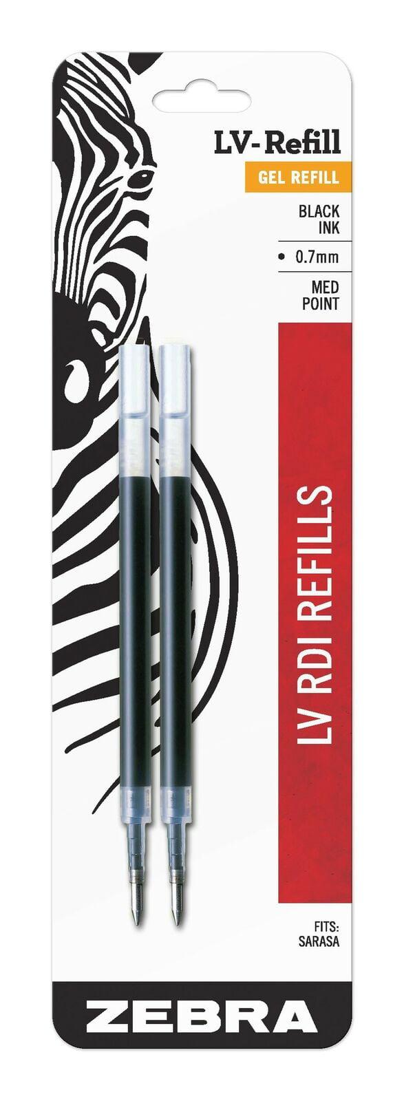 0.7mm Medium Point Black Ink 2-Count Zebra Sarasa RDI LV-Refill