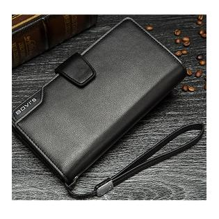 Men's 3 folds High Quality Large Section Wallet Black