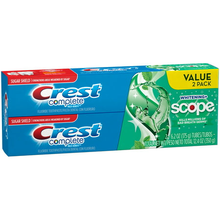 Purpose Gel Toothpaste (Crest Complete Whitening + Scope Minty Fresh Striped Toothpaste, 6.2 oz)