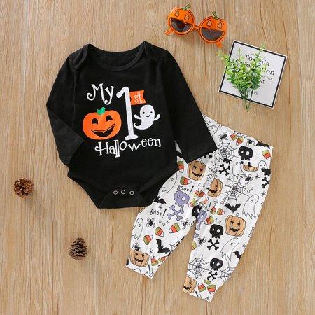 Baby's 1st Halloween Pumpkin Carving (2PSC Newborn Baby Boys Girls 1st Halloween Clothes Pumpkin Romper+Pants)