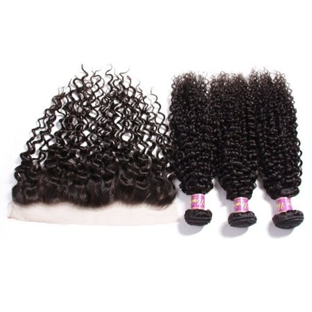 Unice Hair Malaysian Hair Bundles With Lace Frontal 100% Curly Weave Human Hair Extension Natural Color Remy Hair Weaving, 20