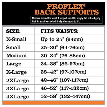 BackSupport,2XL,42in to 46in,10inW,Black PROFLEX BY ERGODYNE 1051