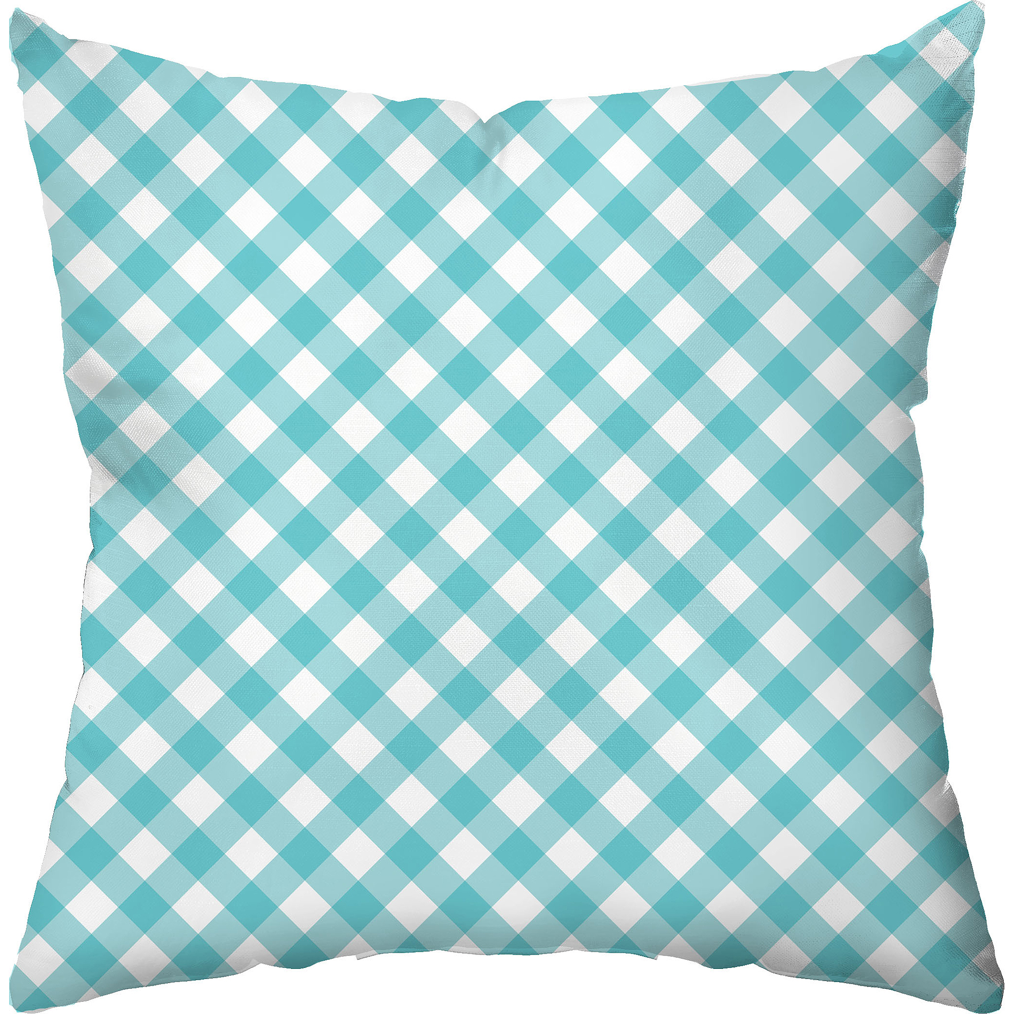 Checkerboard Lifestyle Gingham Sky Blue Throw Pillow, Blue