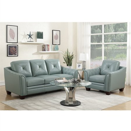 Maklaine Tufted Leather Sofa In Spa