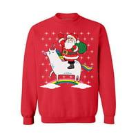 Awkward Styles Unicorn Santa Sweatshirt Cute Unicorn Santa Ugly Christmas Sweater for Women Xmas Unicorn Sweatshirt Funny Christmas Sweaters Christmas Rainbow Gifts for Unicorn Lovers Santa Sweater