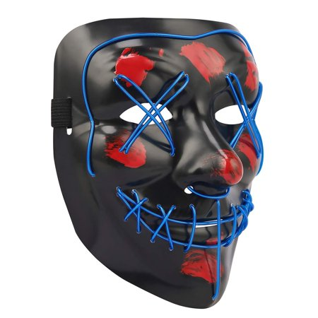HDE LED Halloween Mask Scary Light Up Masks Blue Flash and Glow for Rave, Festival, Cosplay