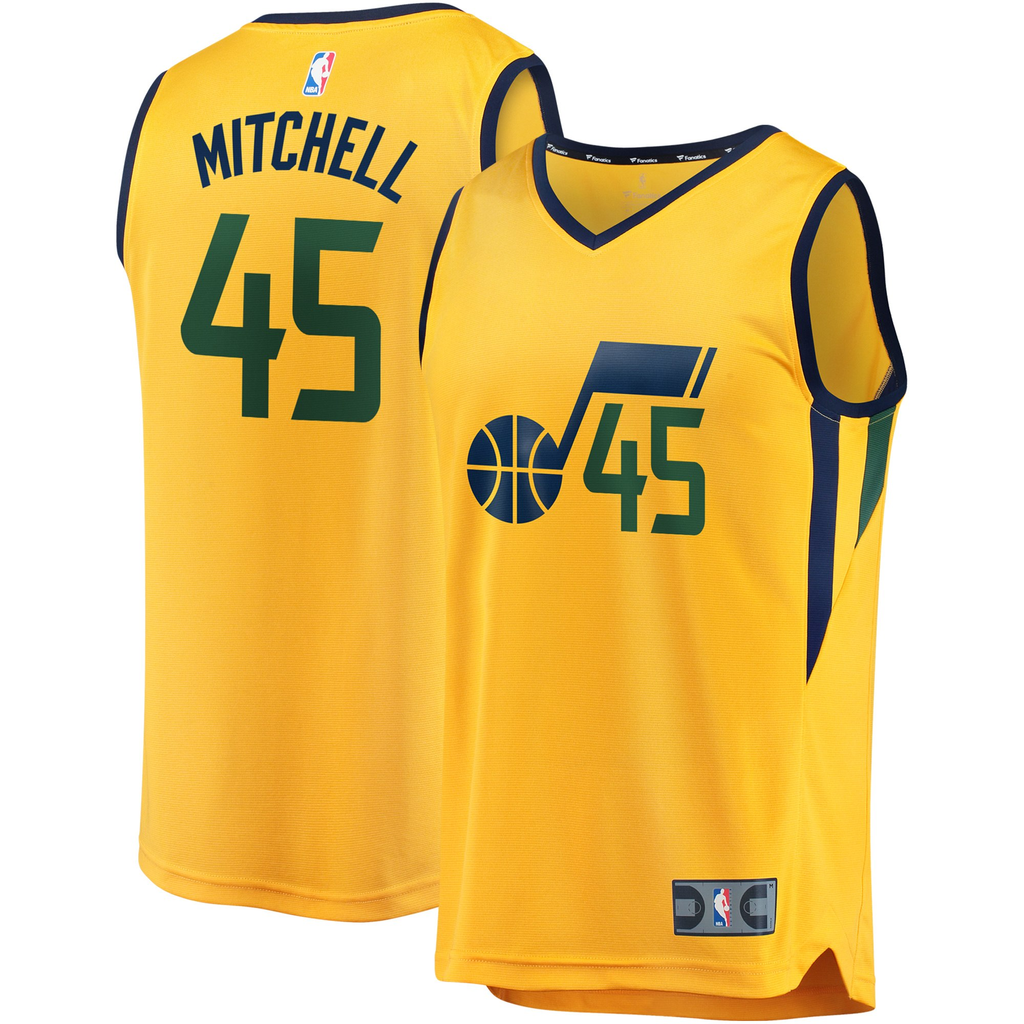 buy popular 2a5b1 be0d2 Donovan Mitchell Utah Jazz Fanatics Branded Youth Fast Break Jersey -  Statement Edition - Gold