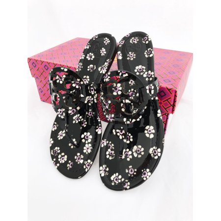baa0115a93e3 Tory Burch - Tory Burch Miller Sandals Thong Flip Flop Patent Leather Black  Floral 7.5 - Walmart.com