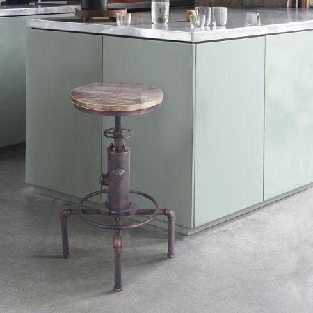 Armen Living Remy Industrial Adjustable Barstool in Industrial Copper and Pine Wood