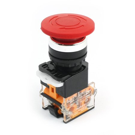 Locking Mushroom Head Rotary Stop Emergency Push Button Switch 400V 10A
