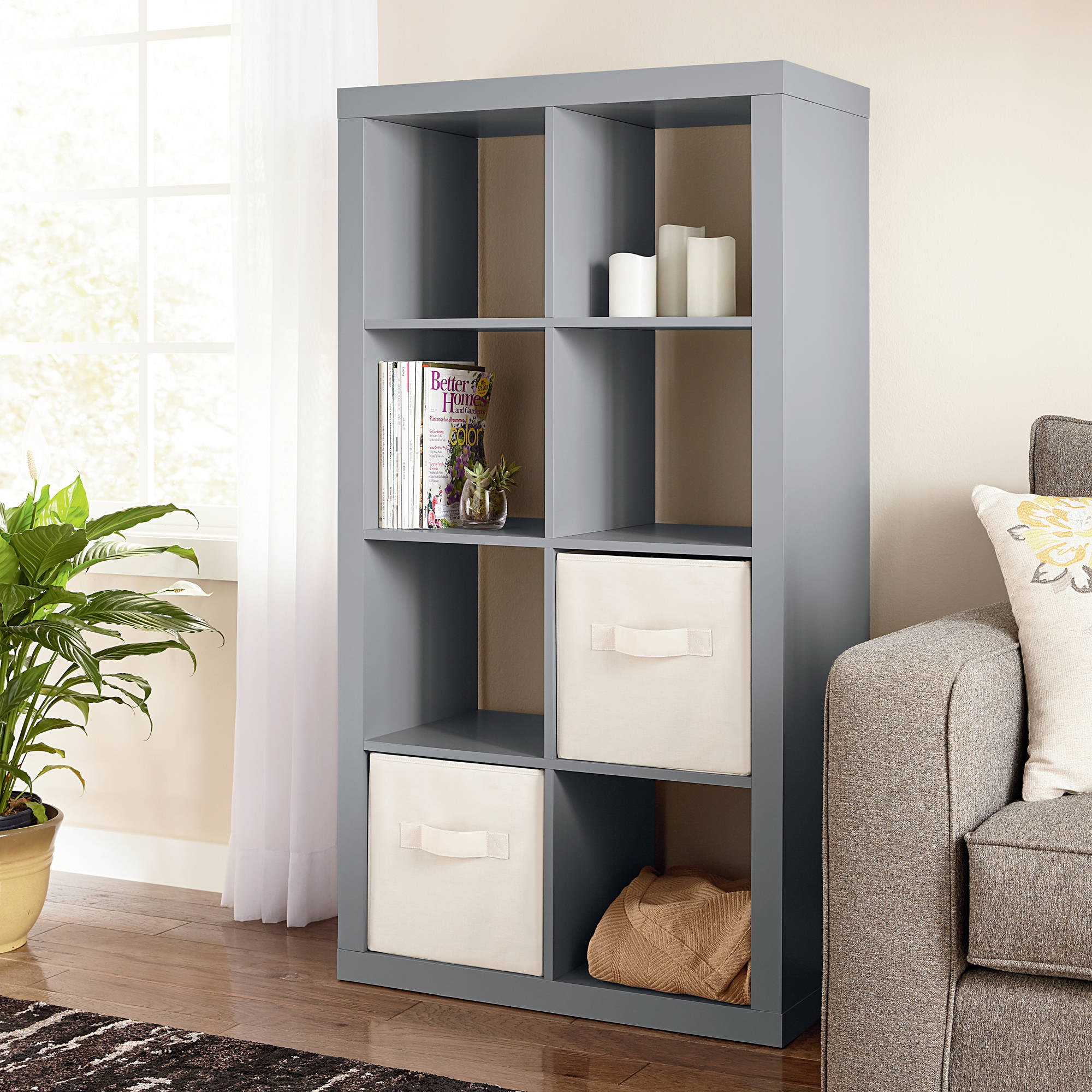 Gray 8 Cube Bookcase Display Organizer Versatile Cubbies Shelving Storage  Unit