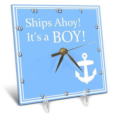 Polder Clock (3dRose Ships Ahoy Its a Boy - for Baby showers - light powder blue with white anchor sailor nautical theme, Desk Clock, 6 by)