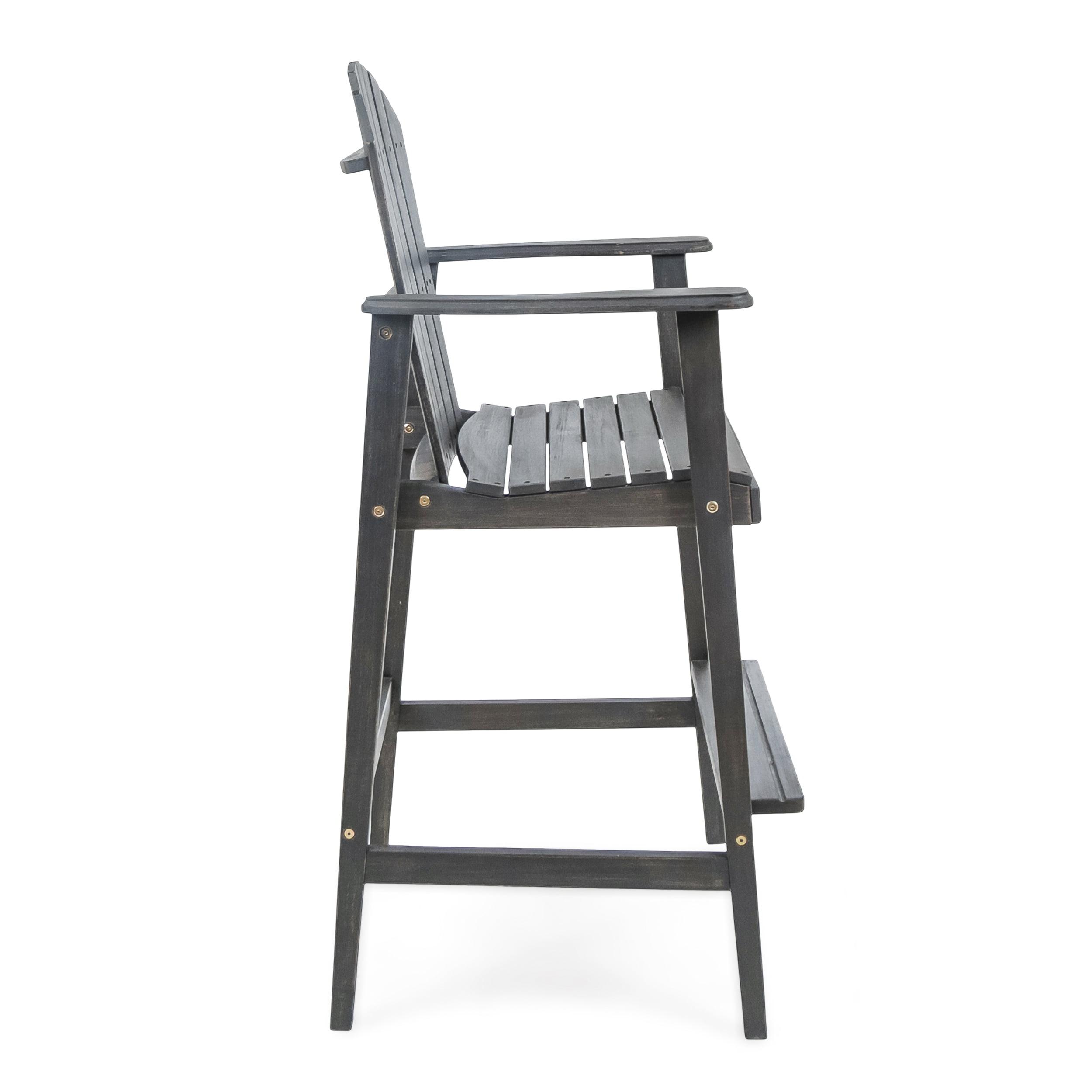 Set of 2 Great Deal Furniture Malibu Outdoor Dark Grey Finished Acacia Wood Adirondack Barstools