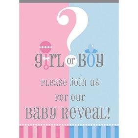 Invitations team pinkblue gender reveal baby shower party blank gender reveal party invitations 8pk stopboris Images