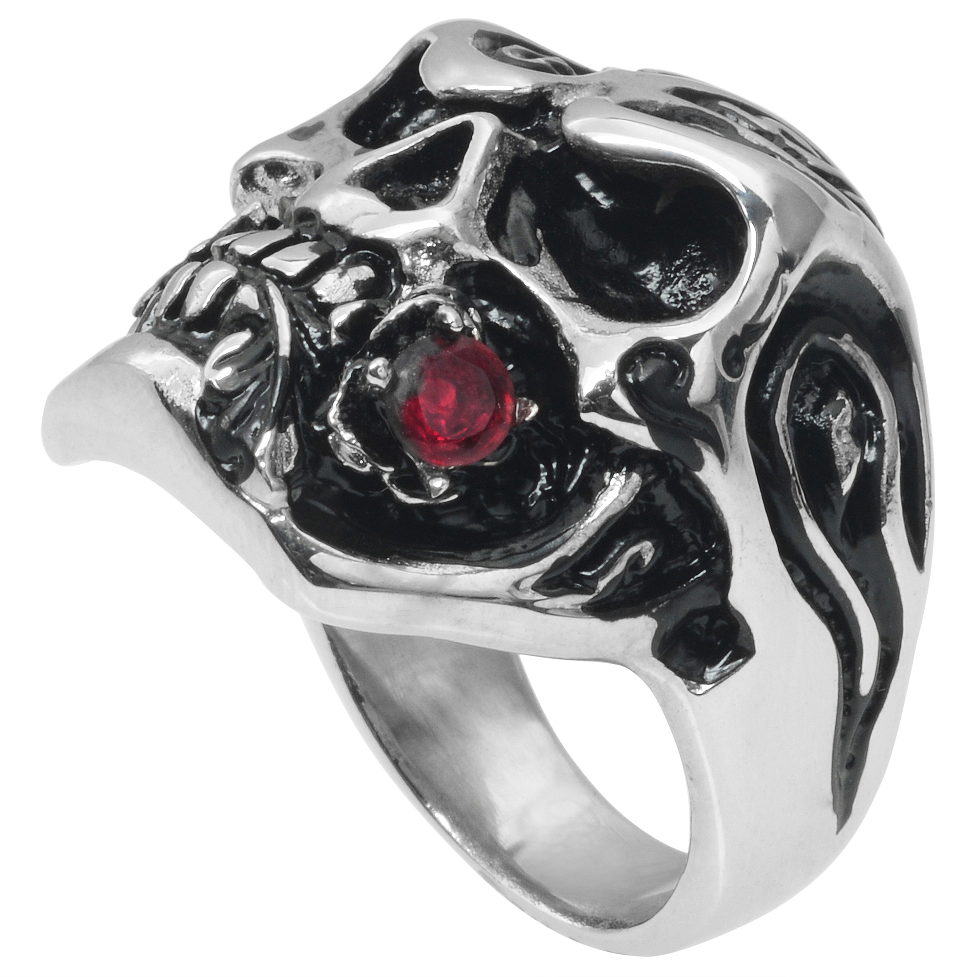 Daxx Men's Stainless Steel Cubic Zirconia Skull Ring