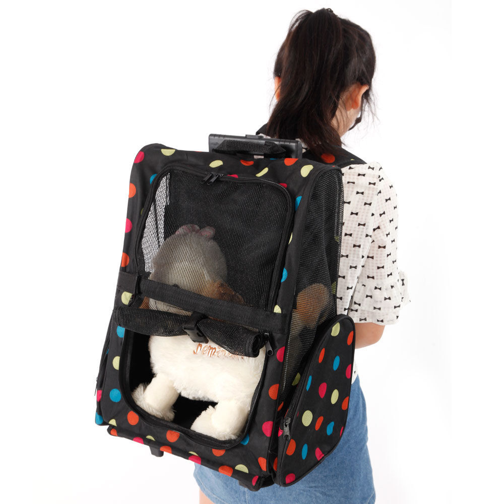 Ktaxon Pet Luggage Box Carrier Cat Dog Backpack Rolling Wheel Removable Stand Blue Red Pink Flower Color