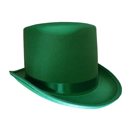 St. Patricks Day Green Satin Top Hat With Band Adult Leprechaun Costume Hat