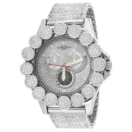 Custom Bezel - Custom Flower Bezel Watch Iced Tray Band Date Analog 52mm Lab Created Cubic Zirconias Mens New