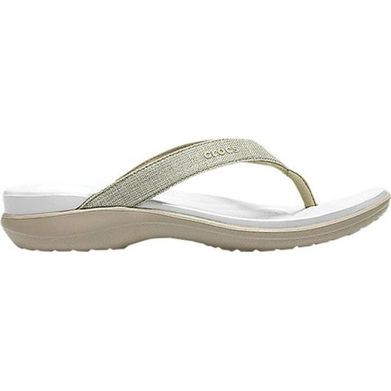 3f1aa892cb2 Deep heel cup cradles the foot Double comfort  Croslite foam footbed on top  of a Croslite foam outsole. Women s Crocs Capri V Shimmer Flip Flop Sandal