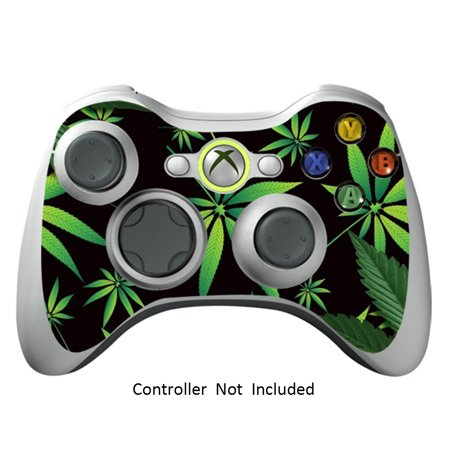 Skin Stickers for Xbox 360 Controller Vinyl X360 Slim Remote Protector Cover Wired Wireless Gamepad Decal - Weeds Black Xbox 360 Wired Pad