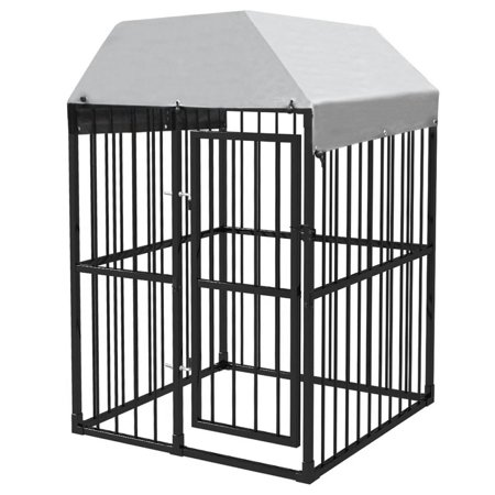 Heavy-Duty Outdoor Dog Kennel with Roof 4'x4' (Spring Dog Cage)