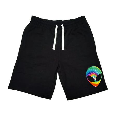Men's Tie Dye Alien Head KT B1214 Black Fleece Jogger Sweatpant Gym Shorts Medium Black - Alien Pants