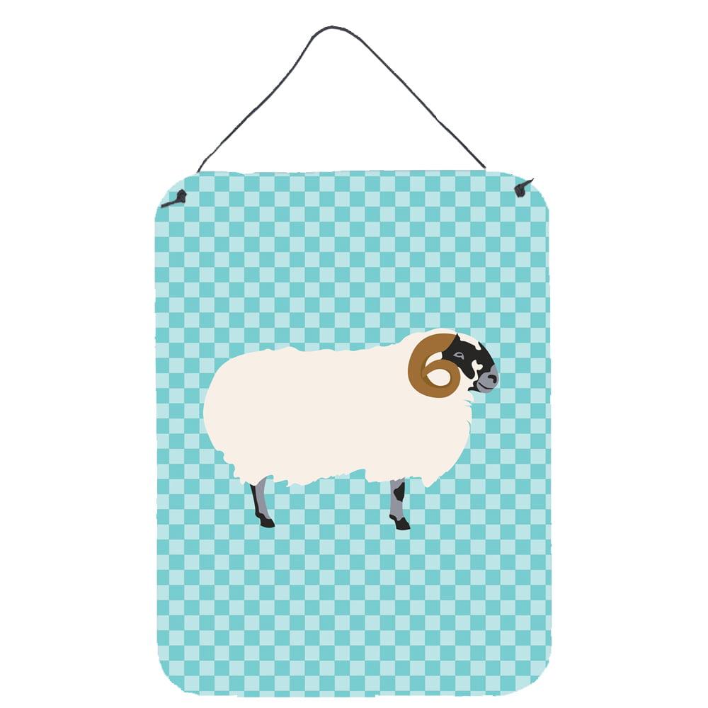 Scottish Blackface Sheep Blue Check Wall or Door Hanging Prints