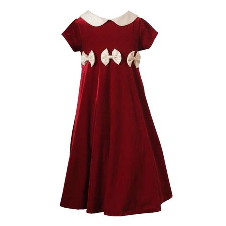 Rare Editions Girls 4-6X Red Velvet Girls Holiday Bow Dress FINAL SALE 5