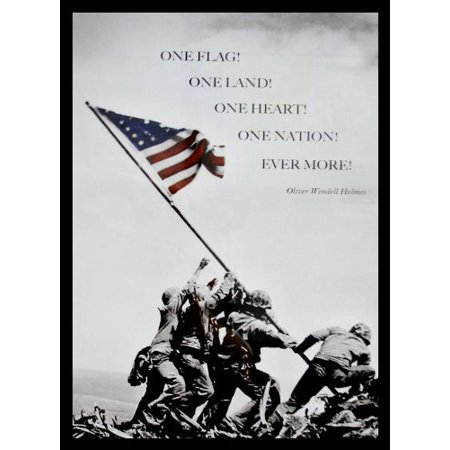 Professionally Framed Raising the Flag at Iwo Jima Photograph 22x16 with Quote by Oliver Wendell Holmes Art Print Poster Historic World War 2 Pacific Front GREAT ART (Golf Historic Photo)